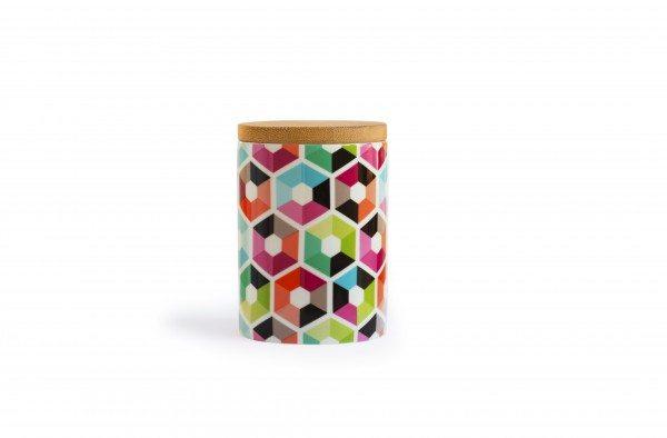 Remember - Porzellandose klein mit Holzdeckel 'Hexagon'
