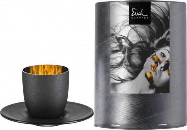 Eisch Cosmo gold - Espresso 109/6 mit Untersetzer in Geschenkröhre