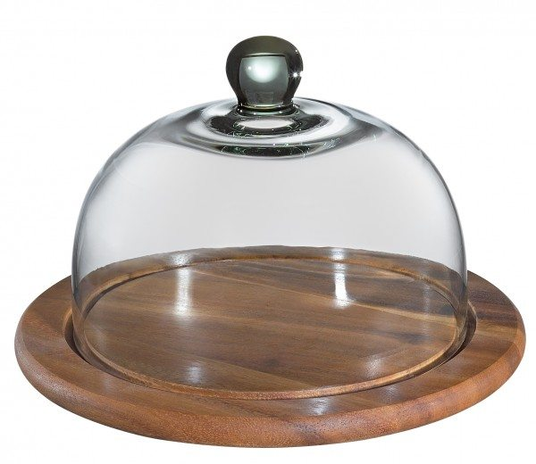 Zassenhaus - Käseglocke mit Glasdeckel, akazie 25 cm