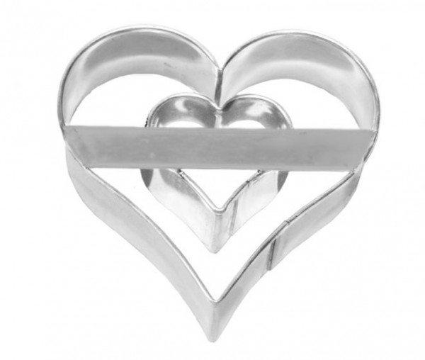 Birkmann - Ausstechform Herz mit Innenherz, Edelstahl, 6 cm