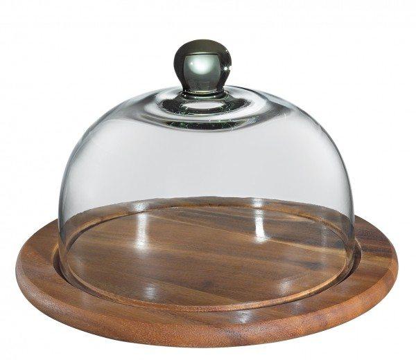 Zassenhaus - Käseglocke mit Glasdeckel, akazie 30 cm